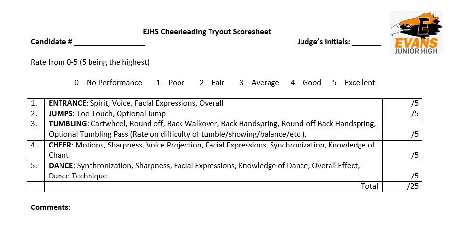 Tryouts EJHS Cheerleading – Cheerleading Tryout Score Sheet